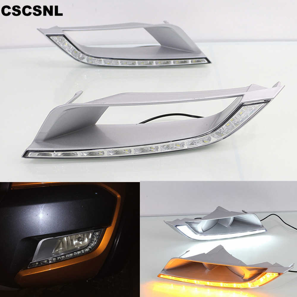 CSCSNL 2PCS For Ford Ranger 2015 2016 2017 2018 LED DRL Daytime Running Light Daylight Fog Lamp With Yellow Turn Signal Lamp