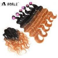 Noble 16 20 Inch 7bundles Pack Black Blonde Synthetic Hair Weaving Deep Wavy Hair 6Bundles With