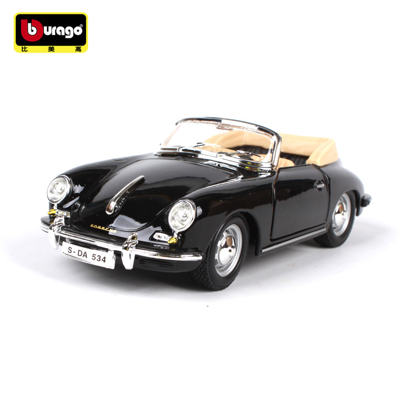 1 24 Simulation classic car Diecast model toy For Porsche 1961 356 with Steering wheel control