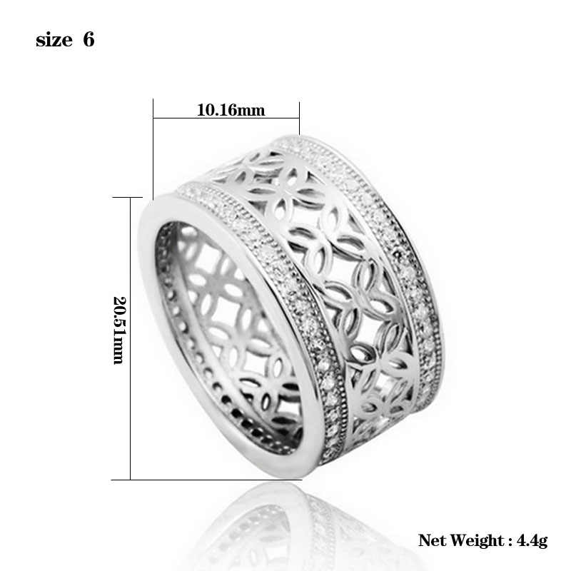 Solid 2020 ใหม่ 925 เงินสเตอร์ลิงแหวนร้อน Zircon anel สำหรับงานแต่งงานรอบสง่างามและสง่างาม R880