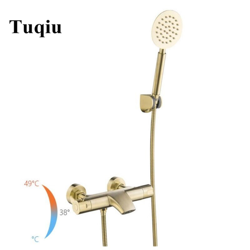 Wall Mounted Bathroom Brushed Gold thermostatic Bath & Shower Faucet hand held Shower Faucet Sets Bathtub Faucet Set