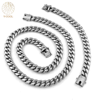 V COOL Iced Out Bling 14mm Biker Link Mens Necklace 316L Stainless Steel Chain Silver Tone