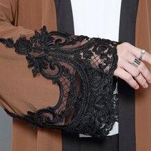 New Fashion Women Muslim Cardigan Spliced Crochet Lace Long Wide Sleeve Islamic Abaya Maxi Dress Outwear Brown