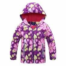 Waterproof Baby Girls Jackets Warm Child Coat Print Polar Fleece Children Outerwear Clothing For 3-12 Years Old цены