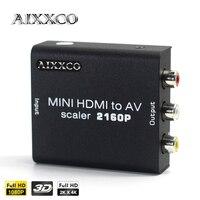 AIXXCO 2Kx4K HDMI Interface Mini HD Video Box 2160P HDMI To AV CVSB L/R RCA Converter HDMI2AV Adapter Support NTSC PAL Output