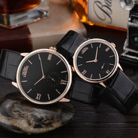 2016 Fashion Dual Dials Genuine Leather Quartz Wristwatches Wrist Watch For Men Women Couple Black White