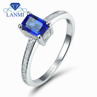 Vintage Emerald Cut 4x6mm14k Sapphire And Diamond Ring, Genuine Blue Sapphire Jewelry Rings SR116