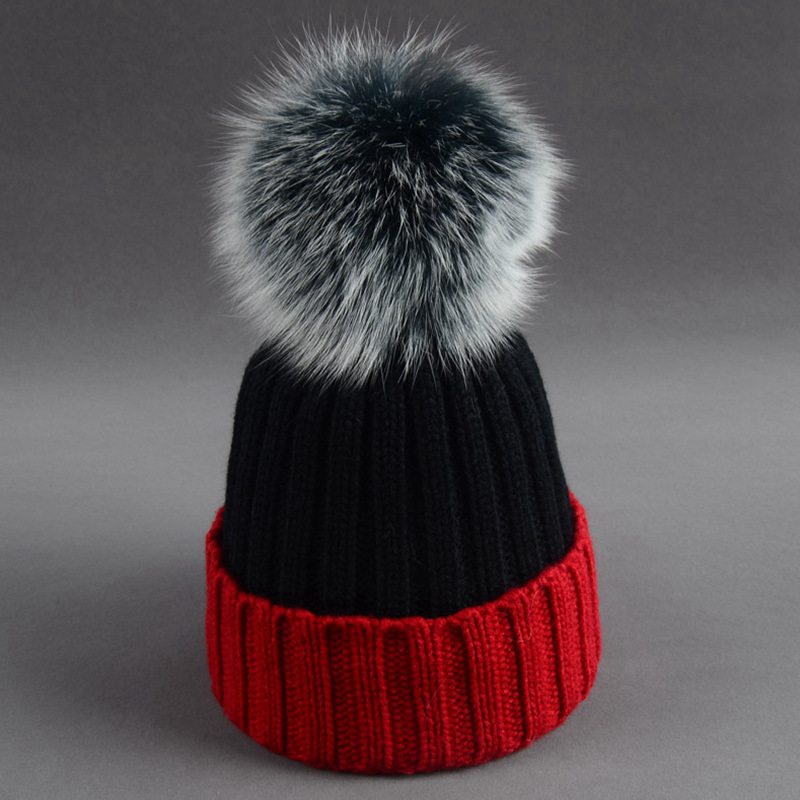 Wholesale 2017 Winter Knitted Women Hat Real Fox Fur Pom Poms   Skullies     Beanies   Girl 's Warm Contrast Color Caps