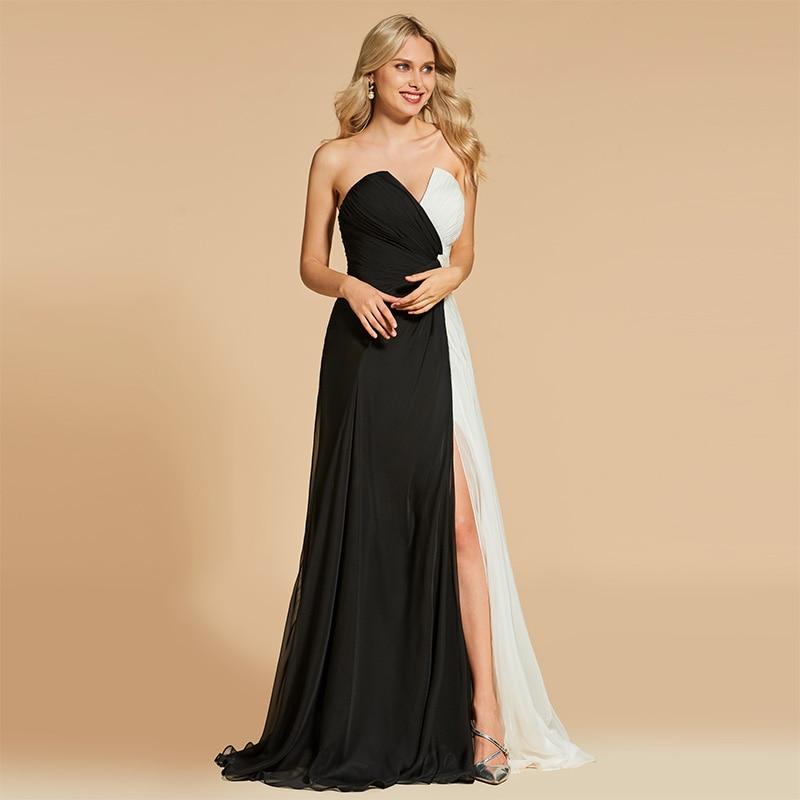 Tanpell chiffon evening dress strapless sleeveless floor length a line gown women party prom custom formal