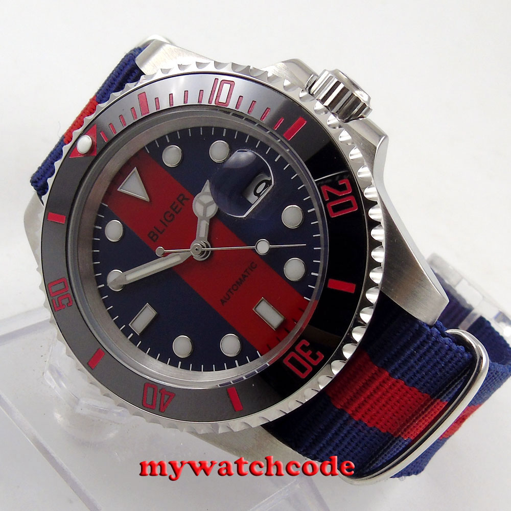 40mm bliger red blue dial sapphire crystal automatic movement mens watch B14340mm bliger red blue dial sapphire crystal automatic movement mens watch B143