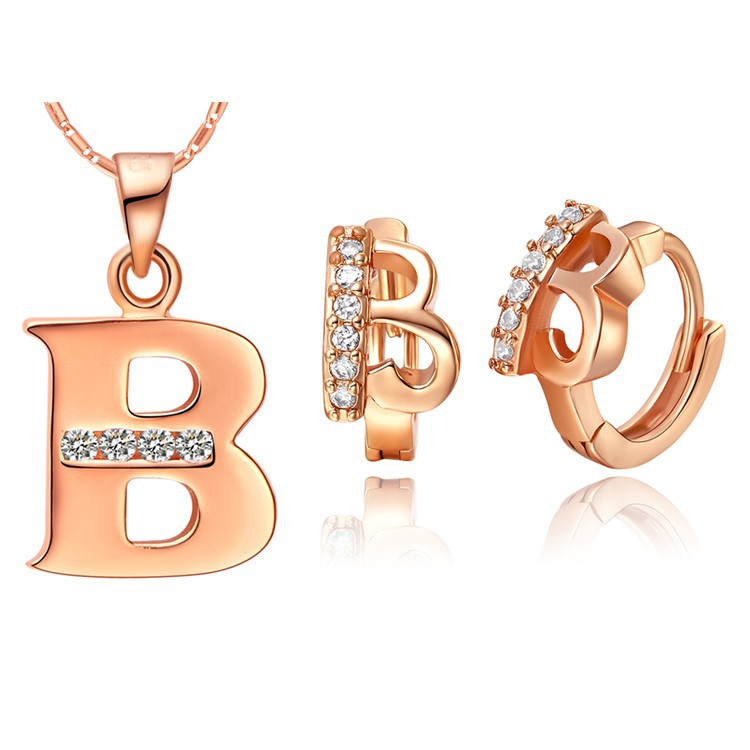 Women Men A B C D E F G H I J K L M N O P Q R S T U V W X Y Z 26 Letter Pendant Necklace Crystal Jewelry 18 k Rose Gold Colou