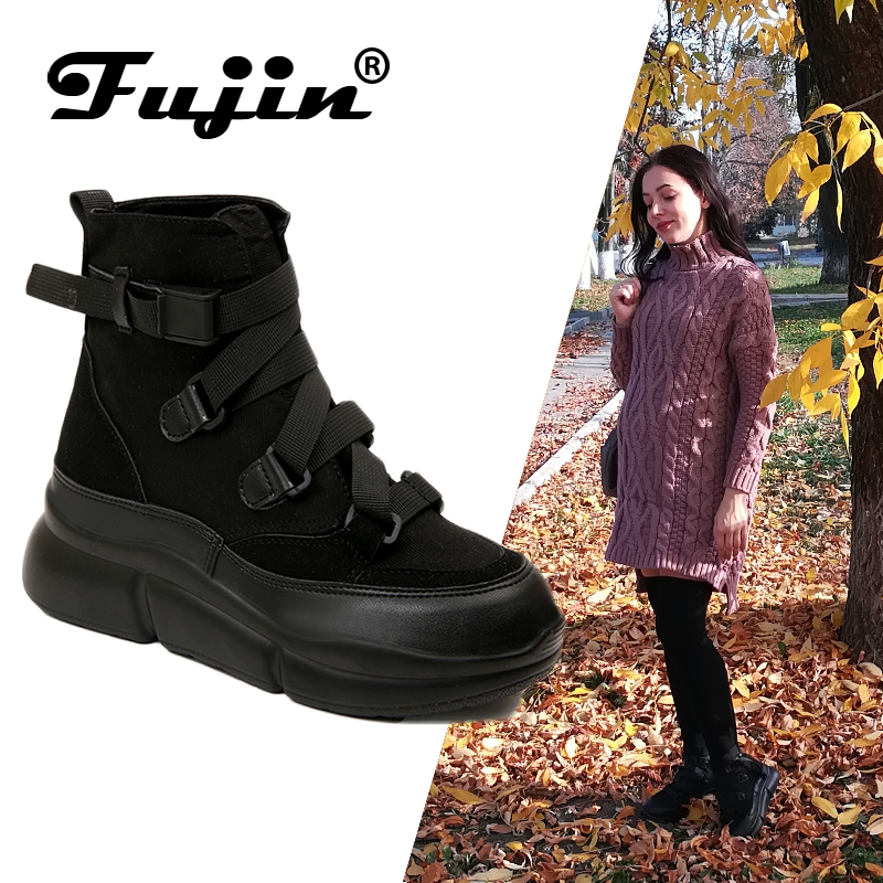 Fujin 2019 New Arrival Canvas Ankle Boots For Women Hook Loop Platform Boots Fashion Punk Black Boots Flat Shoes Winter Boots