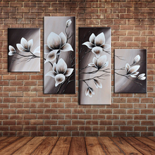 Large Fabric Flowers Decoration 4 Piece Canvas Art Oil Painting Wall Mural Picture Posters for Home Office Decor (No frame )