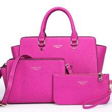 2016 Nueva marca sólida bolsa de Corea Del bolso de cuero de las mujeres medio grandes bolsas de asas femenina crossbody bolsos para bolso de las mujeres 3 conjuntos