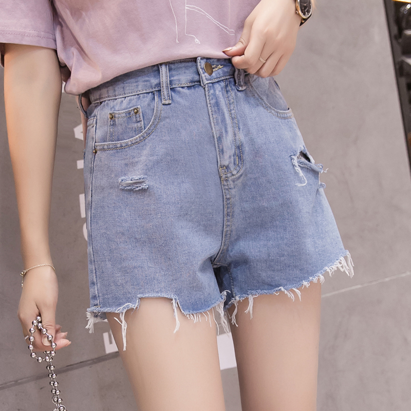 Jeans Bottoms Sincere Ripped Hole Fringe Denim Shorts Women Casual Pocket Jeans Shorts 2019 Summer Female Wide Leg Hot Shorts Button Attractive Designs;