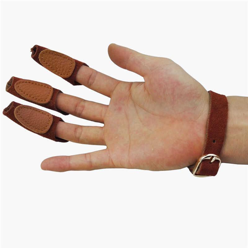 ZHUOTOP Guante de piel para caza de fibras al aire libre accesorio para tiro protector de dedos para flecha