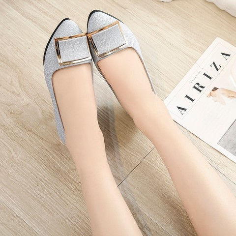 Women Flats Cool Golden Buckle Flat Shoes Women Loafers Ballet Flats Bling Bling Black Shoes Casual Pointed Toe Slipon N189 Multan