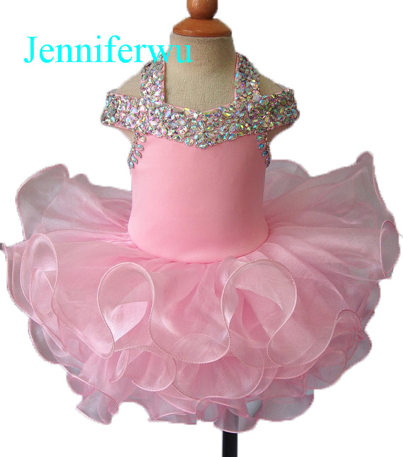 15 color available crystal beaded baby girl pageant dress little girl evening dresses  flower girl dresses 1T-6T G081C купить