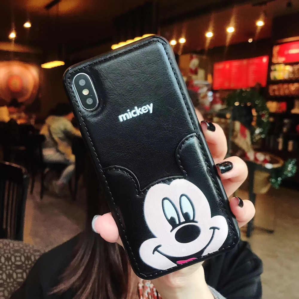 RMJ-DNA чехол для телефона с Микки и Минни Маус для iPhone X, 6, 6 S, 8, 7 Plus, мягкий чехол из искусственной кожи с мультипликационным принтом для iPhone 7, 6s, XR, XS, MAX