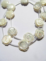 2strands 30pcs 8 15mm Handmade White MOP Rose Flower Beads White Mother Of Pearl Carved Rose