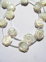 2 vertentes 30 pcs 8-15mm Handmade Branco MOP Flor Rosa Beads Mãe de Pearl White Rosa Esculpida Contas flor