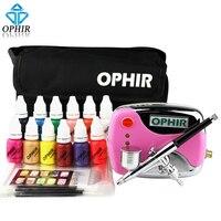 OPHIR Инструменты для маникюра 0.3 мм Air Кисточки комплект с воздушный компрессор для Дизайн ногтей Air Кисточки чернила и ногтей Трафареты и сум