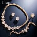 ZAKOL Chegada Nova Moda Flor Conjunto de Jóias de Zircônia Banhado A Ouro Colar/Brincos/Pulseira/Anel Set Mulheres Casamento FSSP225