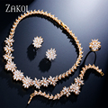 ZAKOL New Arrival Trendy Flower Jewelry Set Zirconia Gold Plated Necklace/ Earrings/ Bracelet/ Ring Set Women Wedding FSSP225