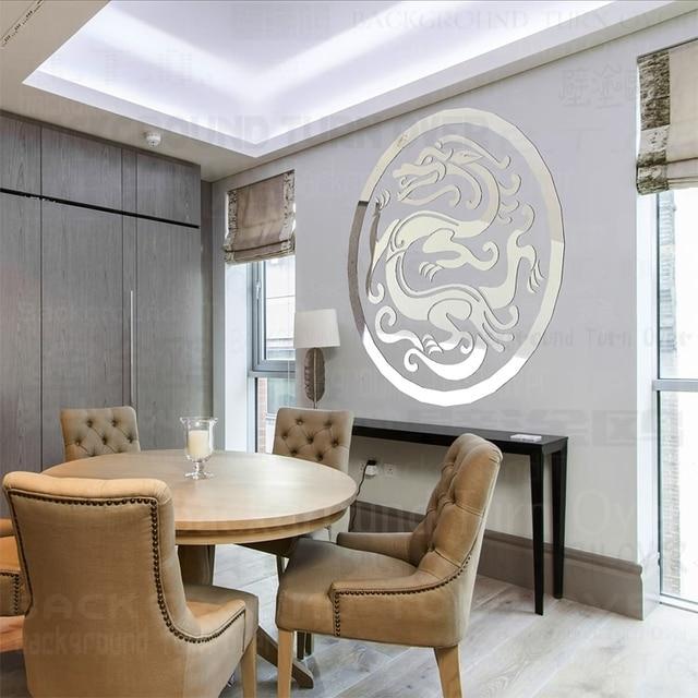 Mode Kreative Traditionellen Chinesischen Drachen Spiegel Wand Aufkleber  Für Wohnzimmer Esszimmer Dekoration R217