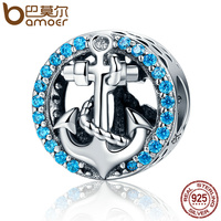 BAMOER Fashion Design Authentic 925 Sterling Silver Blue Crystal Anchor Beads Fit Original Charm Bracelet Jewelry