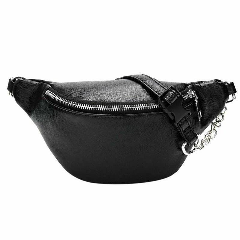 Women's Travel Waist Pack Faux Leather Fanny Pack Money Belt Bum Bag