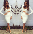 Novelty Sexy&Club Bodycon Pencil Dress 2016 Summer V-Neck Long Sleeve Hollow Out Dress Top Sale Fashion Knee-Length Dress AX91