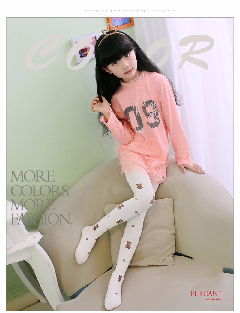 Teenage Girl Cute Color Stretch Comfortable Pantyhose (9)