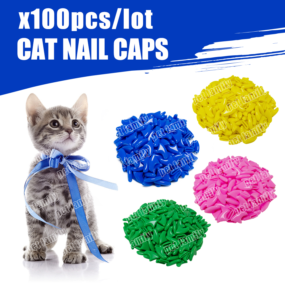 Free Shipping 100 Pcs/lot Pet  Cat Soft Paws Grooming Floor Protect Pet  Cat Nail Caps Claw Control Soft Paw Caps Xs,s ,m,l