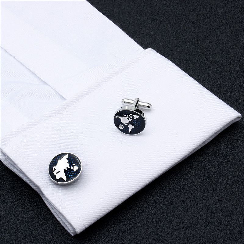 HAWSON Classic Style Cufflinks World Map Silver with Navy Blue Cuff - Fashion Jewelry - Photo 5