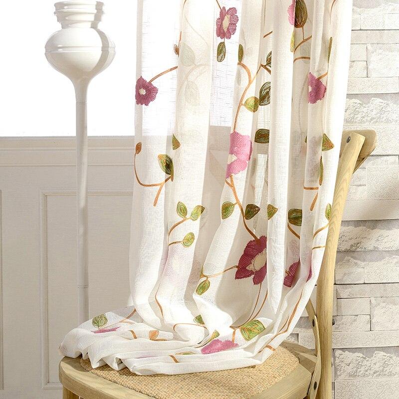 Rideaux en Tulle livraison gratuite. Taille personnalisée haute qualité fleurs brodées lin tissu rideaux transparents.