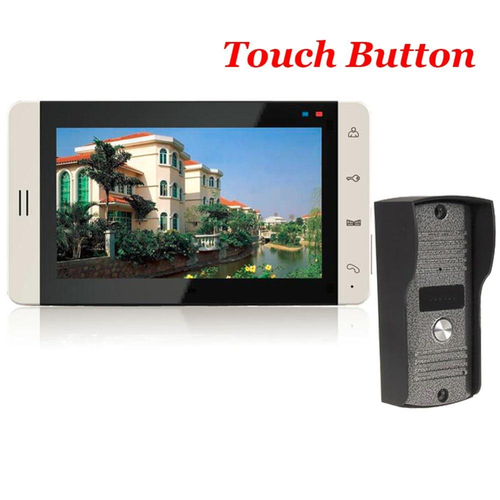7 TFT Tactile Couleur Vidéo Porte Téléphone Sonnette Interphone Vidéo Interphone IR Caméra Sonnette Kit pour Appartement Sécurité