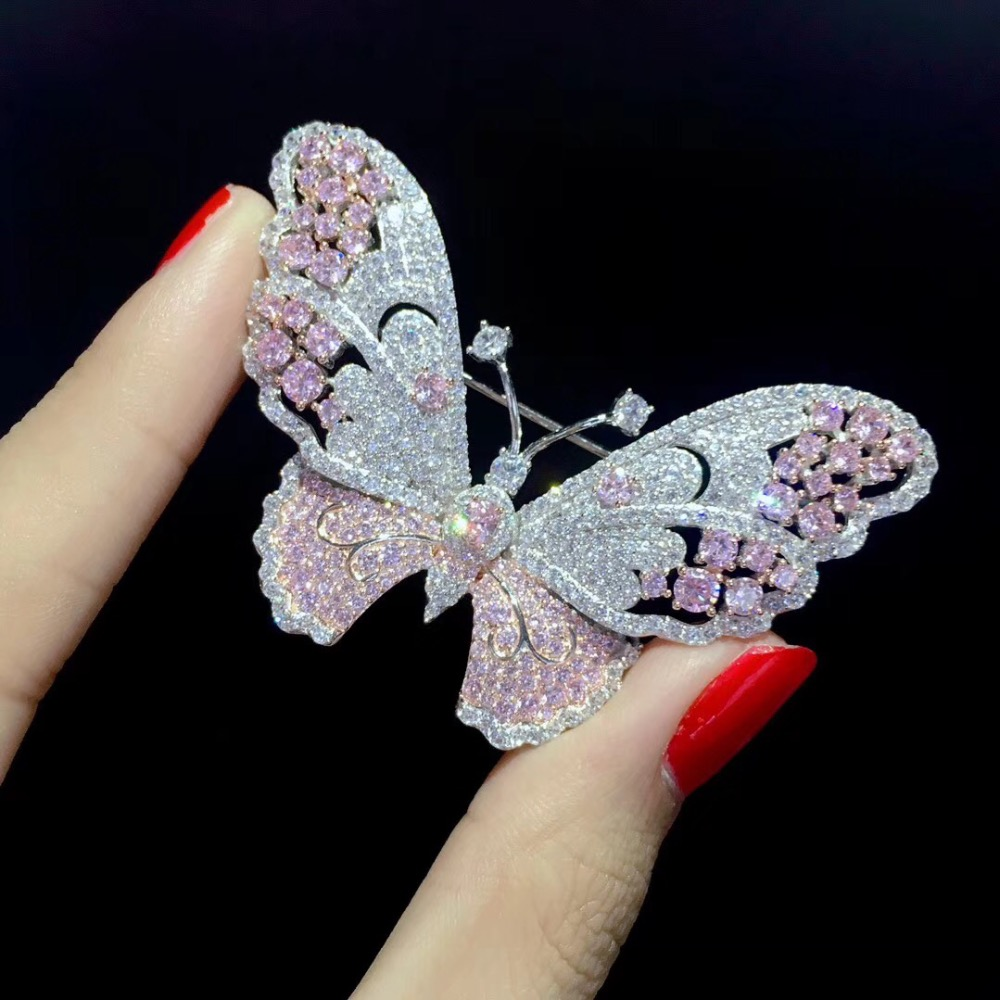 pink color butterfly brooch 925 sterling silver with cubic zircon insect fashion women girl jewelry free shipping pendant