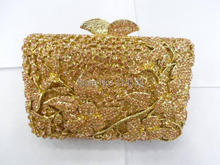 8237 PEACH Crystal Flower Floral Fashion Wedding Bridal gold Metal Evening purse clutch bag handbag case