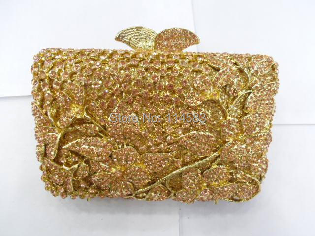 ФОТО 8237 PEACH Crystal Flower Floral Fashion Wedding Bridal gold Metal Evening purse clutch bag handbag case