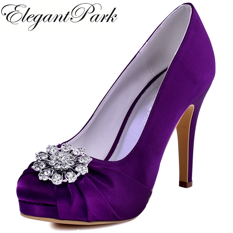 Woman Purple High Heel Platform Wedding Shoes Rhinestone