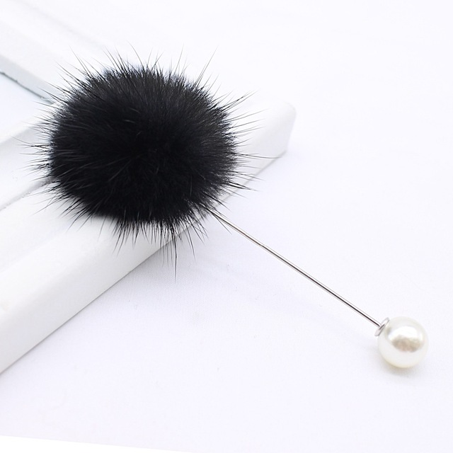 New cute Charm Simulated Pearl Brooch Pins For Women Fur Ball Piercing Lapel Brooches Collar Jewelry Gift Kids Girls