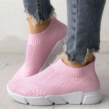 Women Shoes Plus Size Flyknit Sneakers Women New Vulcanized Shoes Casual Female Slip On Flat Shoes White Mesh Walking Footwear