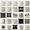Чехлы хлопковый льняной подушки с надписью «Love Home», черный и белый цвет, наволочка для дивана, кровати, скандинавские Декоративные наволочк...