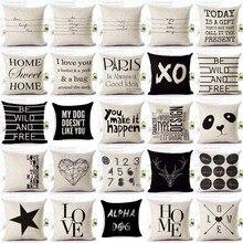 Fundas de cojín con letras Love Home, funda de cojín Blanca Negra de lino y algodón, funda de cojín decorativa de estilo nórdico, almohadas de 45x45cm