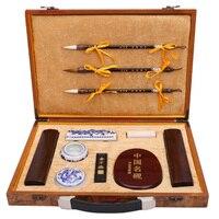 Четыре сокровища исследования китайской каллиграфии кисти Чернил Stick стационарных картина питания Книги по искусству набор Подарочная кор