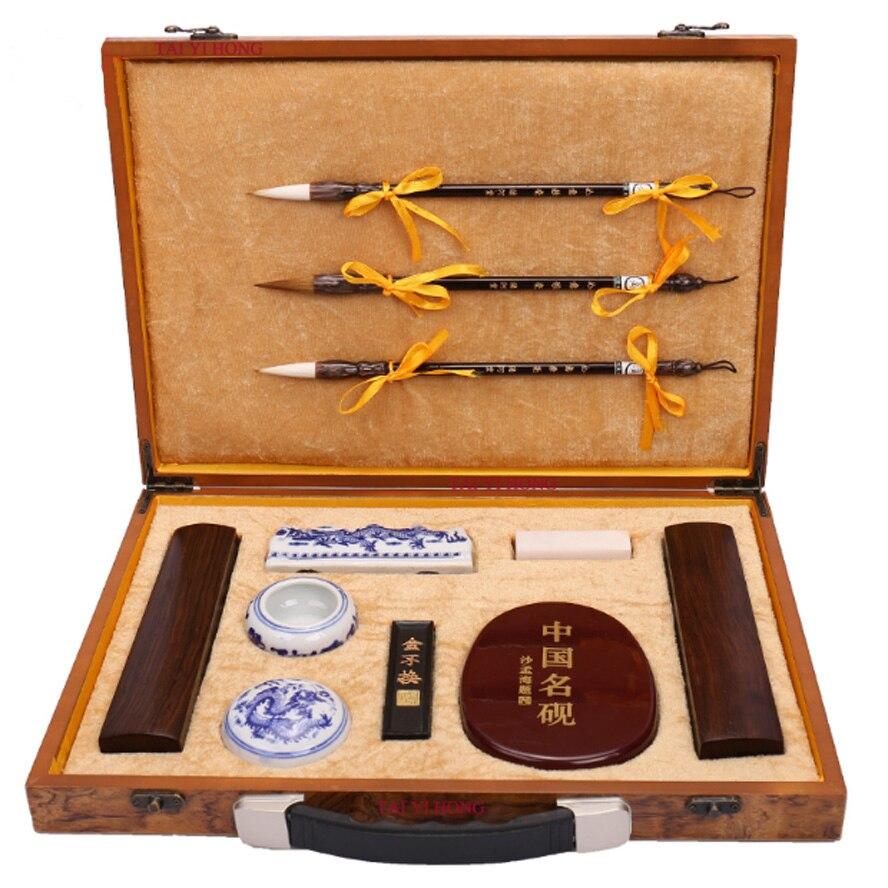 Les quatre trésors de l'étude pinceaux de calligraphie chinoise bâton d'encre papeterie fourniture de peinture Art Set cadeau boîte pour artiste