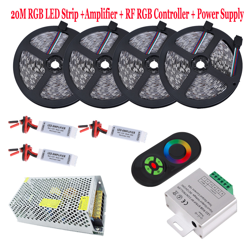 20m 5050 rgb led strip kit 15m 10m waterproof flexible tape light fita diode 5 key rf remote rgb. Black Bedroom Furniture Sets. Home Design Ideas