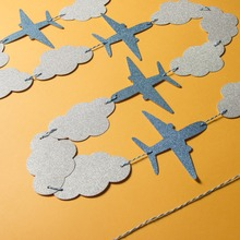 Lovely Cartoon Banners Clouds and Airplanes Garland Party Decorations Blue Baby Showers Kids Birthday Supplies