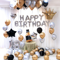 60pc/Set Black Gold Balloon Baby Shower Birthday New Year Whisky Champagne Party Balloon Set Theme Baptism Party Decoration